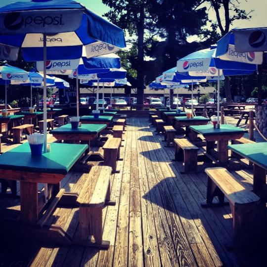 Outdoor dining area of Boonedocks