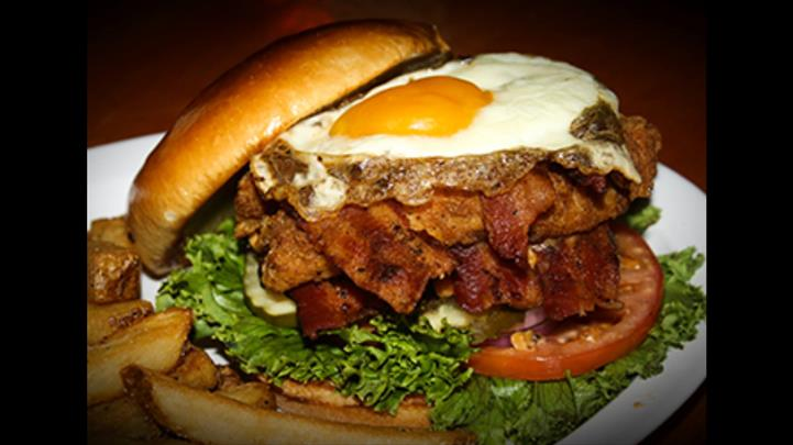 Burger with Eggs and Bacon