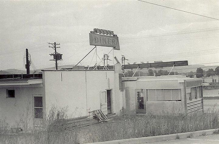 Vintage photo of the backyard of Skylark Diner