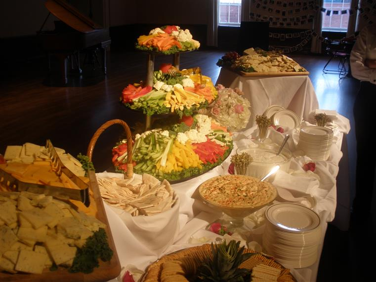 Vegetable and dip spread on catering table