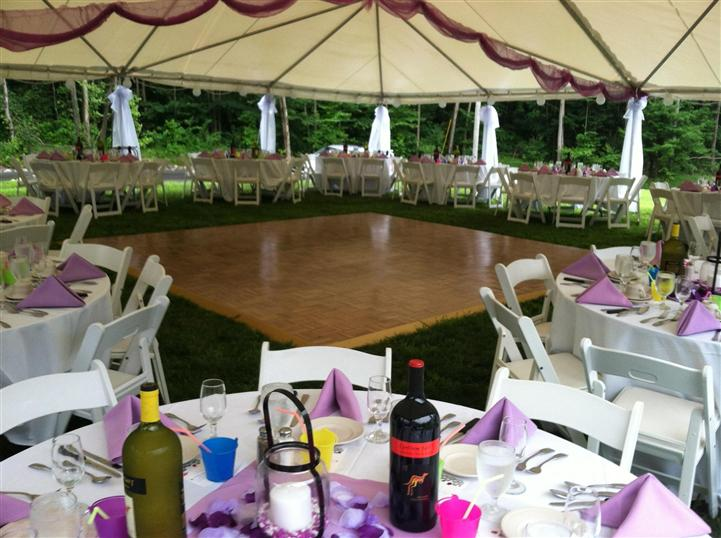 interior dance floor setup with chairs and tables