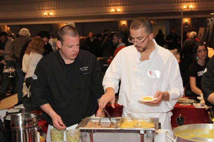 wait staff preparing food for an event