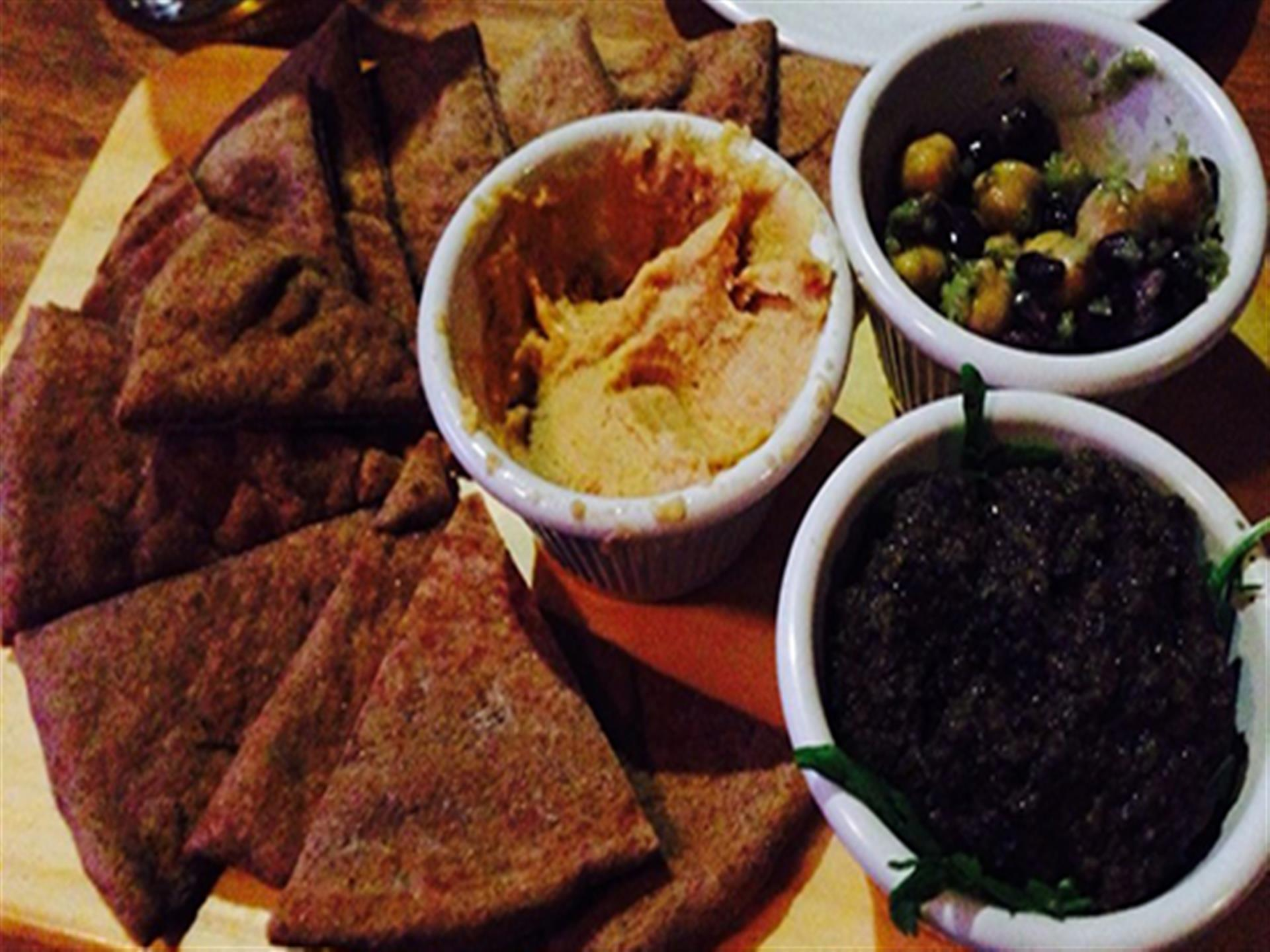 PIta chips and assorted dips