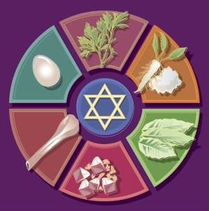 star of david symbol with food item sketches