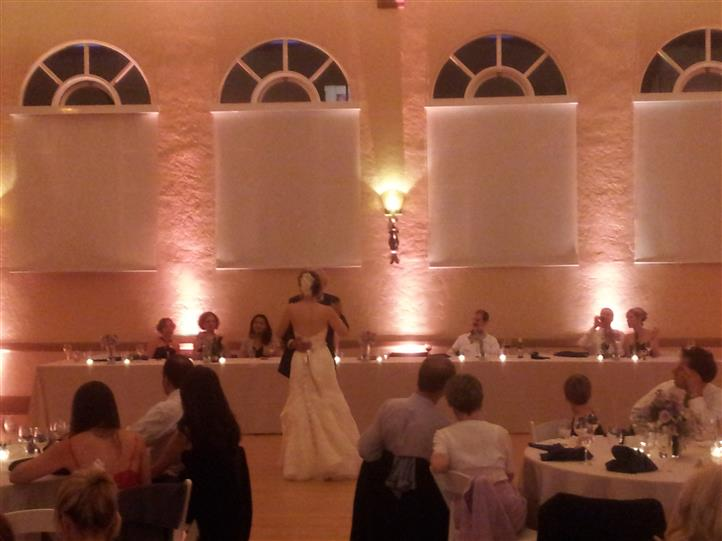 Bride dancing with father in wedding venue
