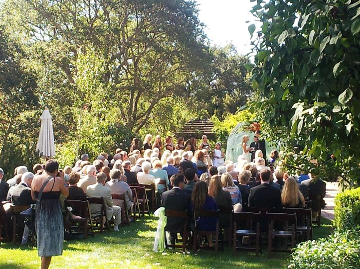 Wedding reception outdoors on grass