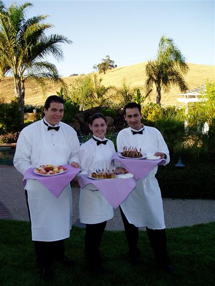 Catering staff holding trays at outdoor event
