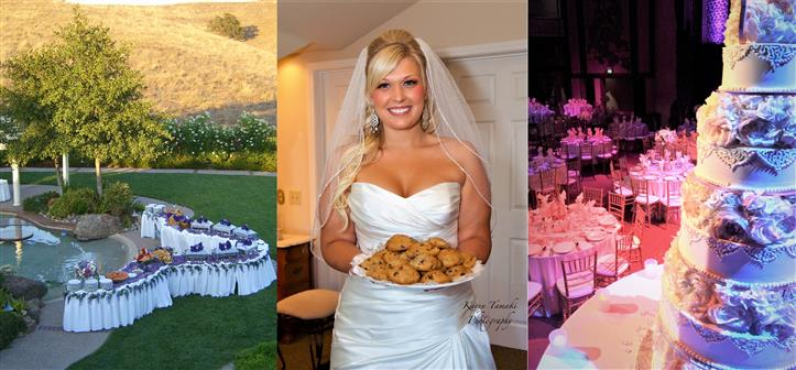collage of outdoor buffet tables, bride holding plate of cookies, and wedding cake on table
