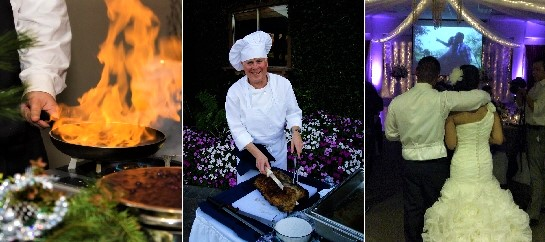 collage of chef cooking with fire, chef at carving station, bride and groom in wedding hall