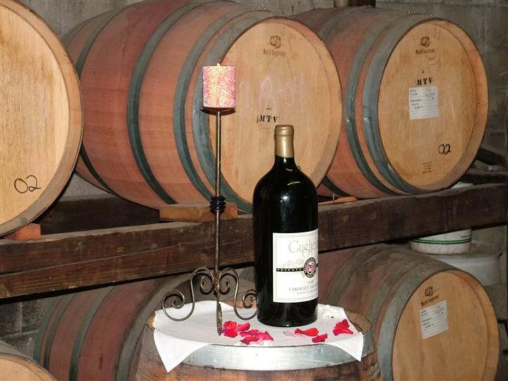 Wine bottle in front of wine barrels