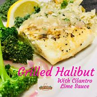 Grilled Halibut with Cilantro Lime Sauce