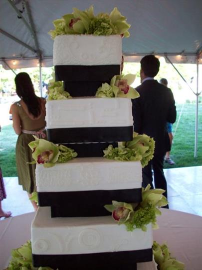 Three tiered cake decorated with flowers