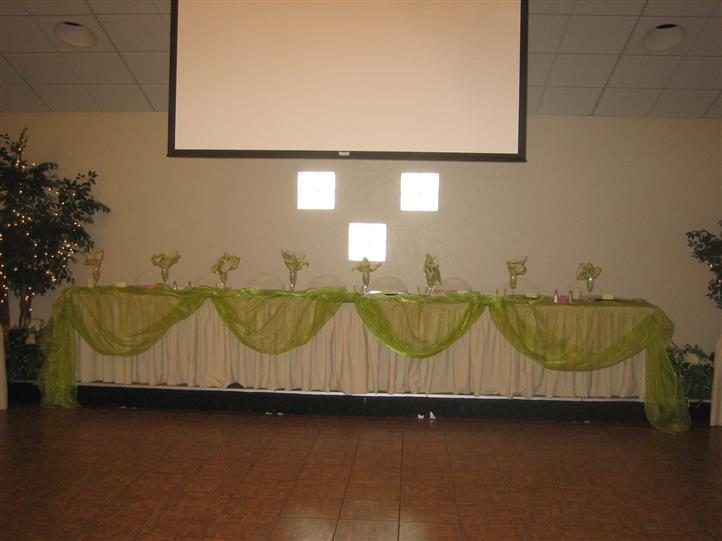 Projector screen above decorated table
