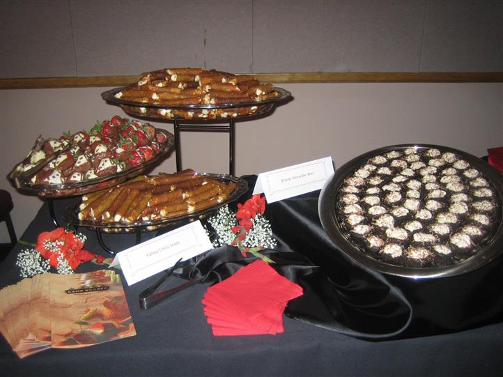 Assortment of appetizers on raised trays