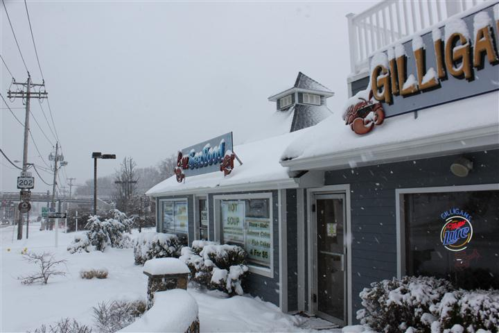 outside restaurant on a snowy day