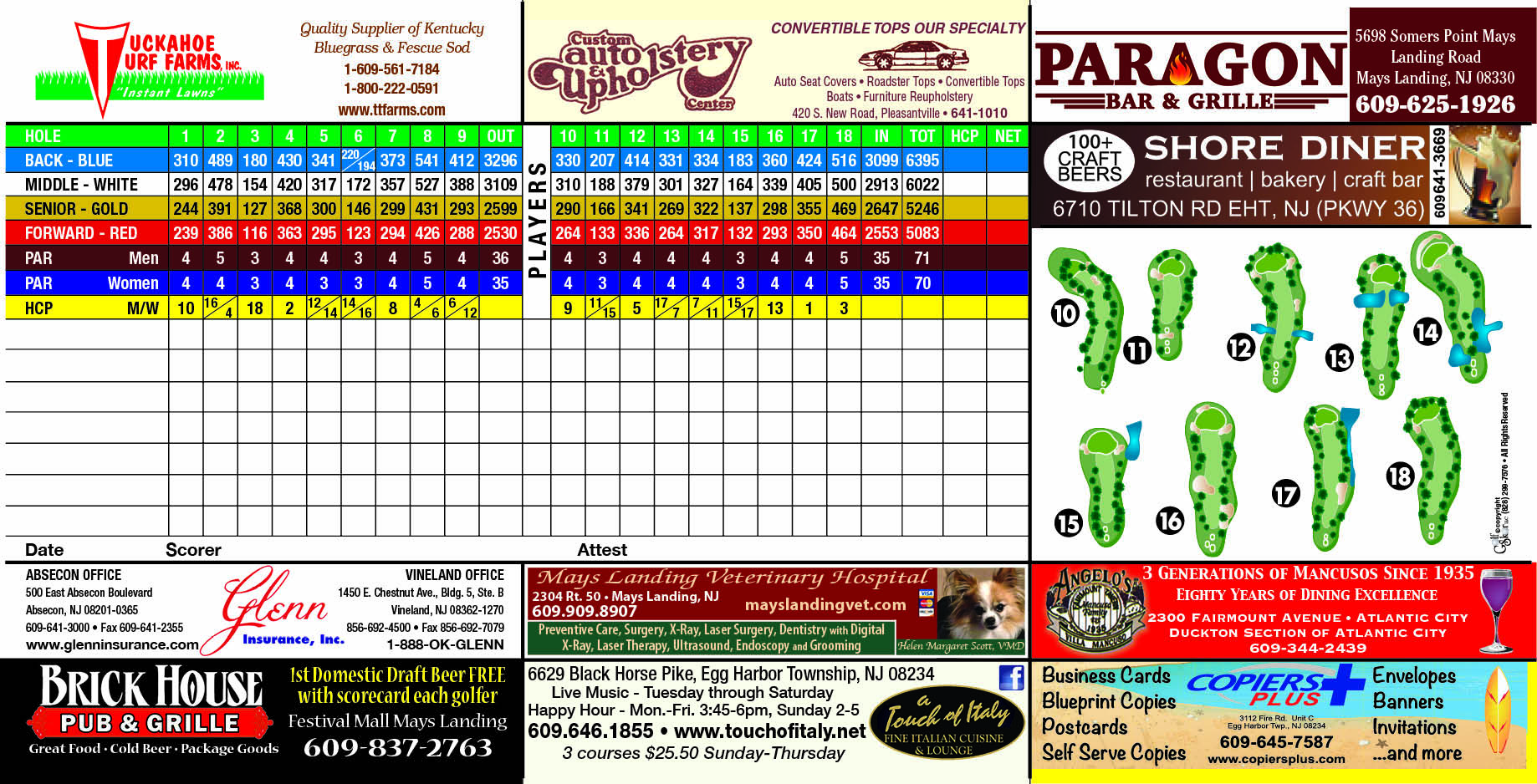 collage of various scorecards with local advertising