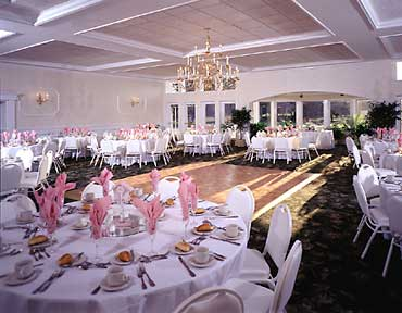 Wedding reception setup in large dining hall