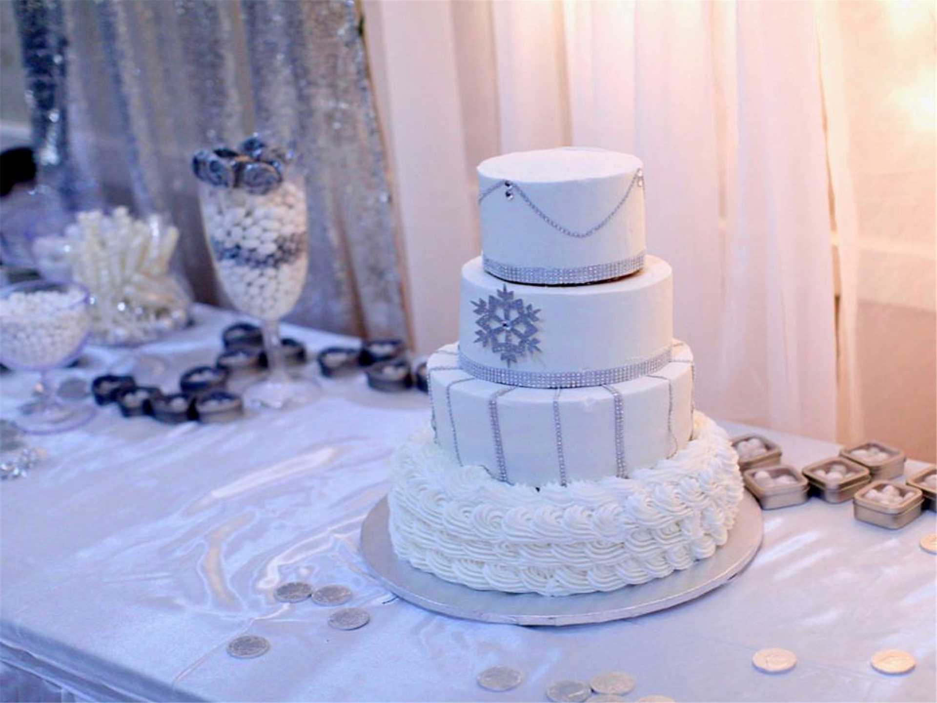 wedding cake with a snowflake on it