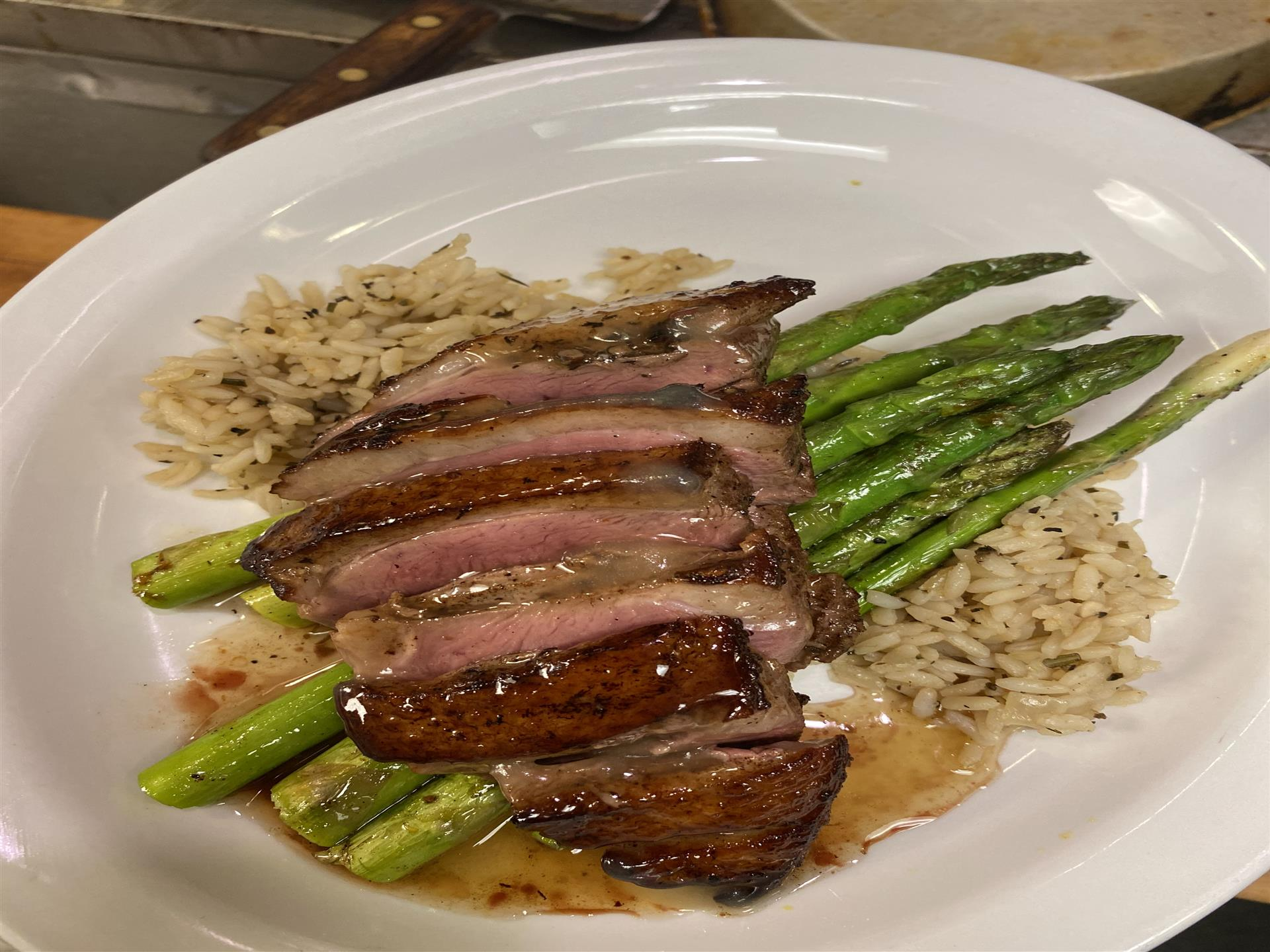 entree with rice and asparagus