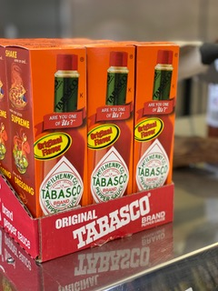 Tobasco hot sauce jars in boxes