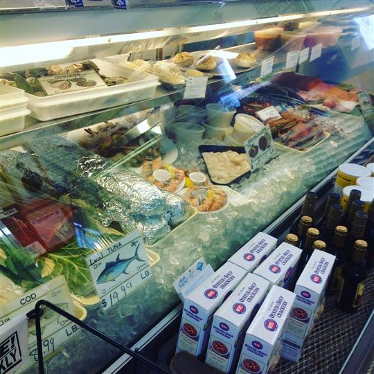 food on ice in refrigerated counter