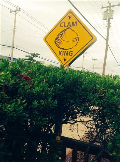 sign that reads clam xing