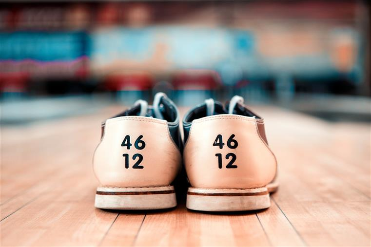 bowling shoes with 46 and 12 on them