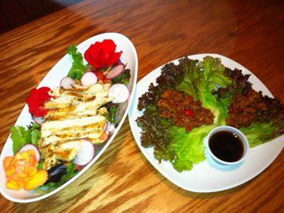 Two dishes of salads