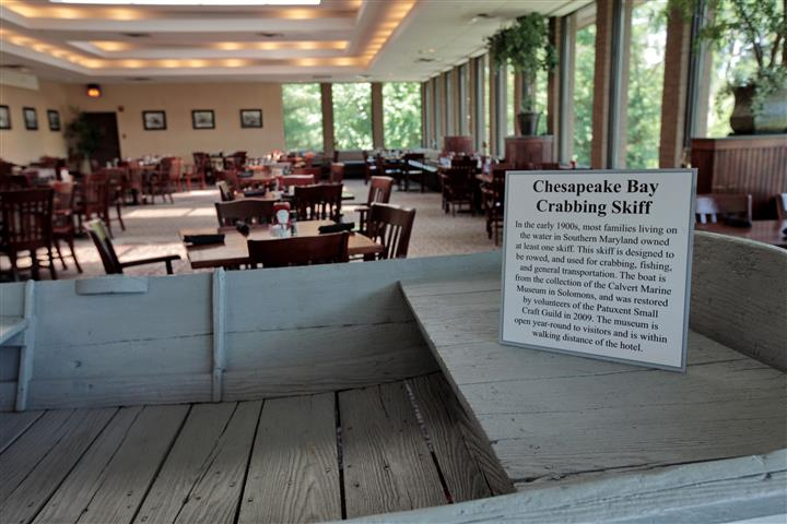 Full-size Crabbig Skiff display in the restaurant hall
