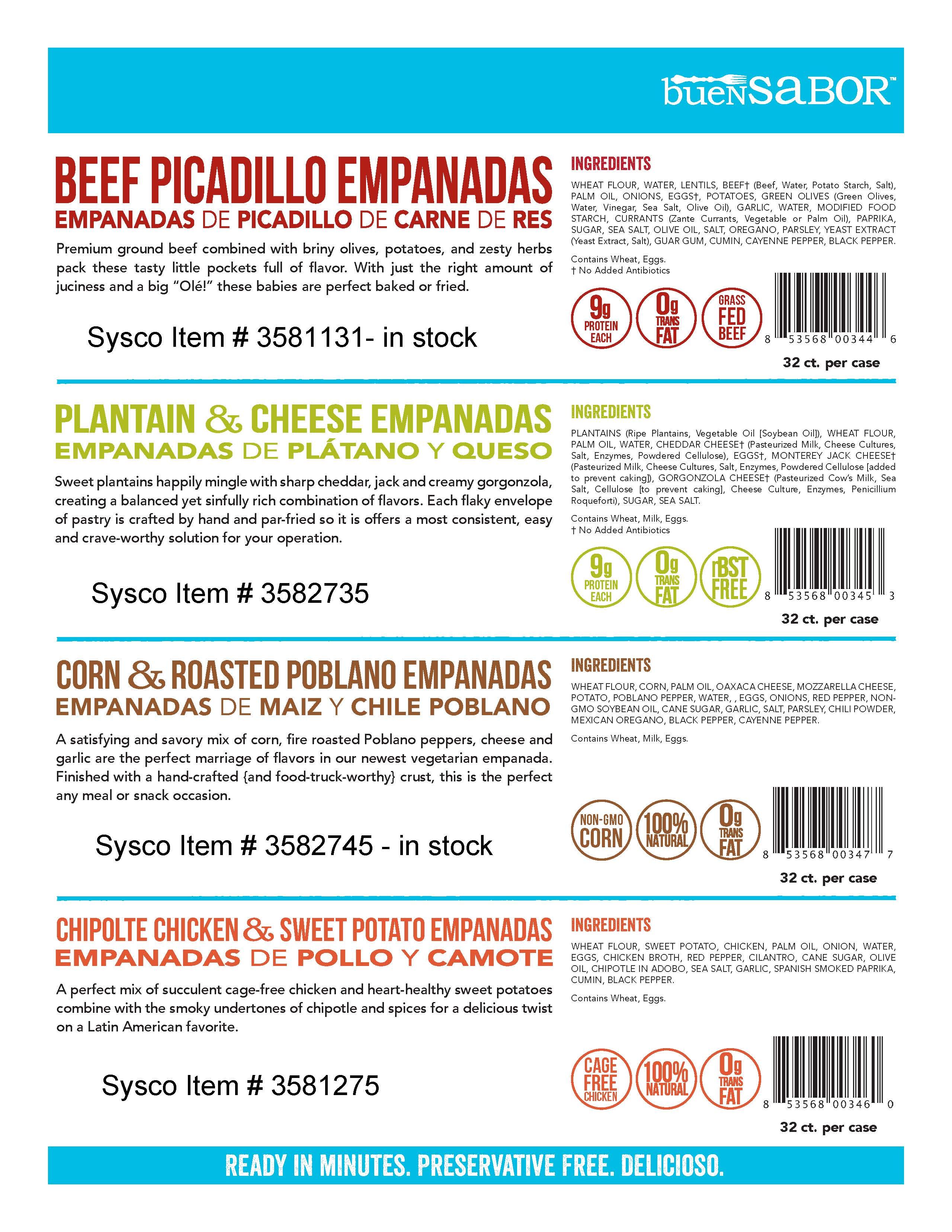 Sysco Food Service Product List