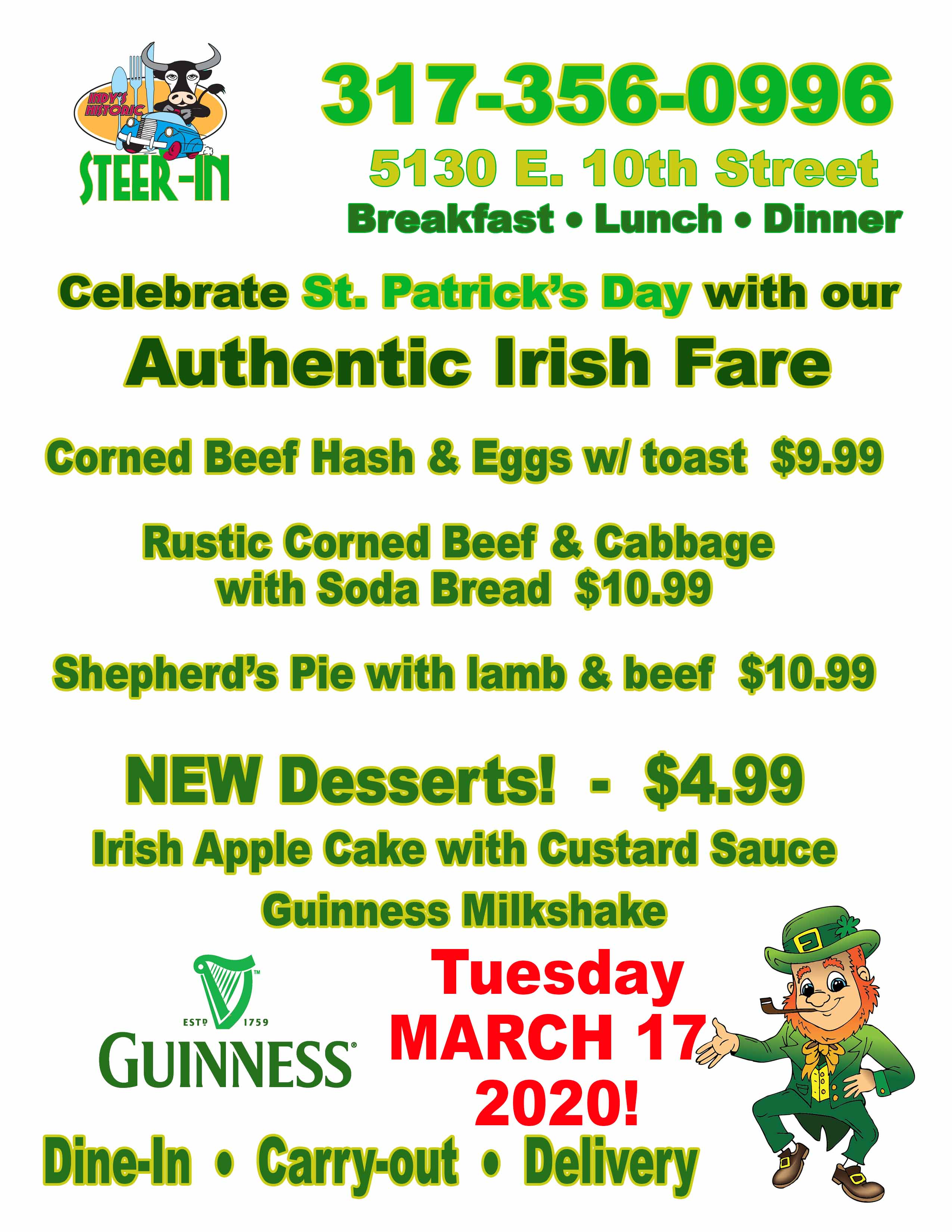 Celebrate St. Patrick's Day with our Authentic Irish Fare!