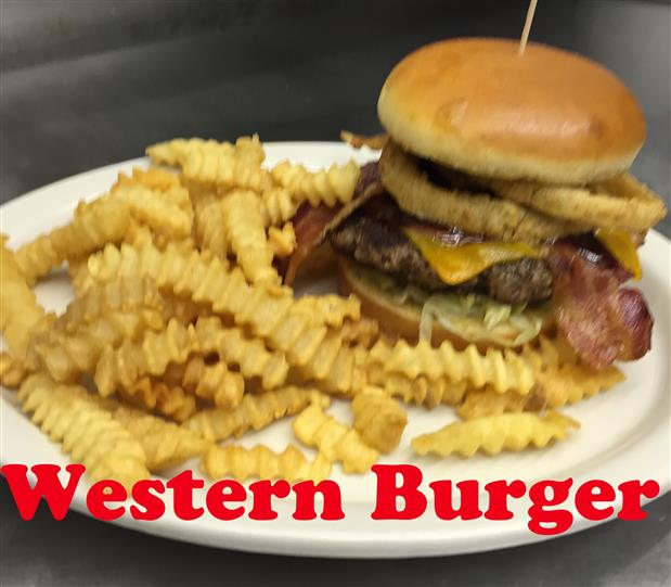 Western Burger with french fries