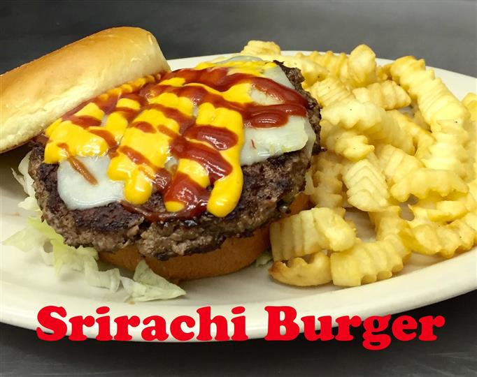 Srirachi Burger with French Fries