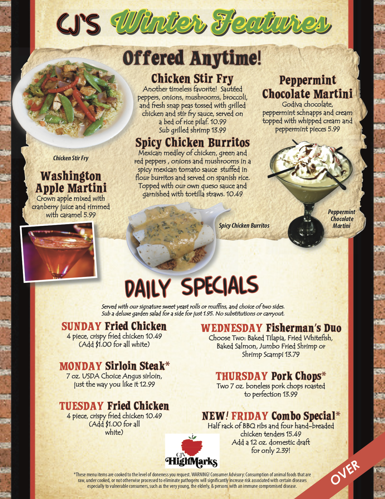 Cj's Winter Features & Daily Specials