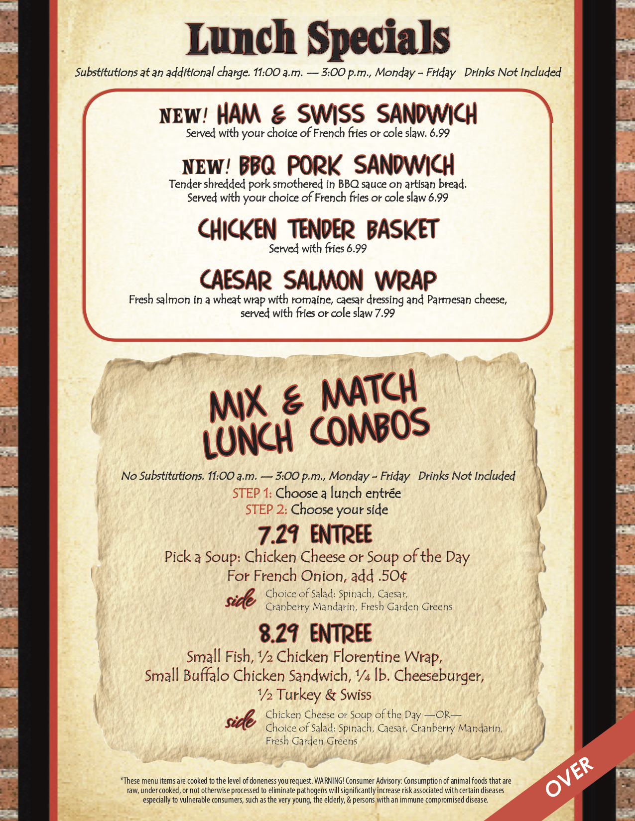 Lunch Specials & Mix & Match Lunch Combos