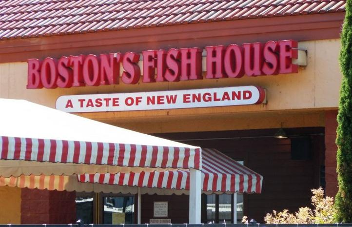 Boston Fish House entrance with sign