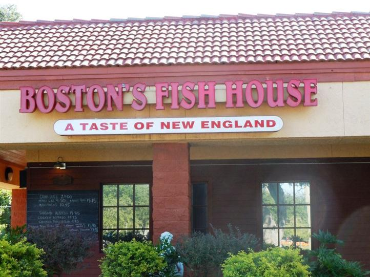 Boston Fish House front entrance with sign