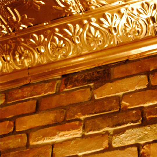 Wall and gold ceiling