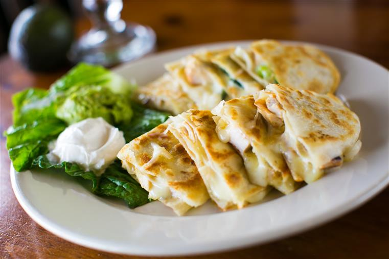A chicken quesadilla