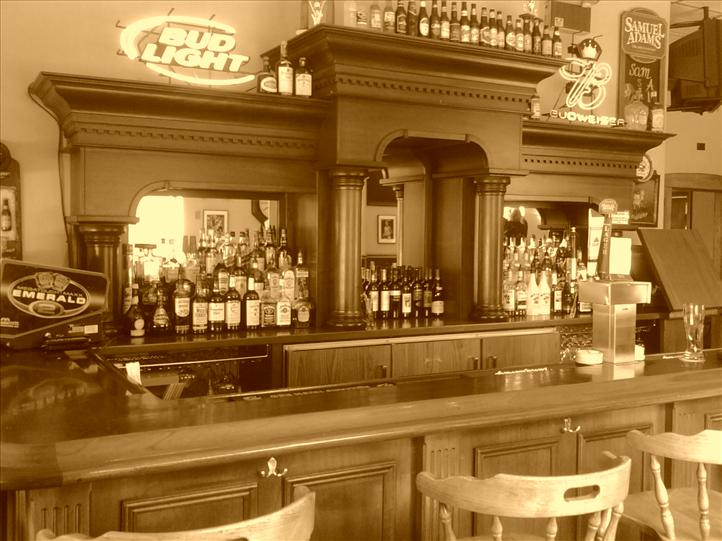 Vintage style photo of the bar area