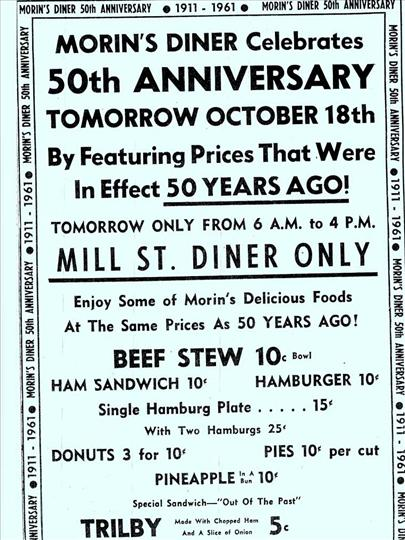 Morin's 50th Anniversary announcement from the Sun Chronicle  (local paper)  October, 1961
