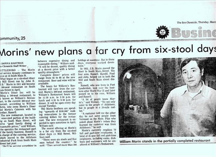 Sun Chronicle.... featuring Bill Morin and expansions in the restaurant  1984