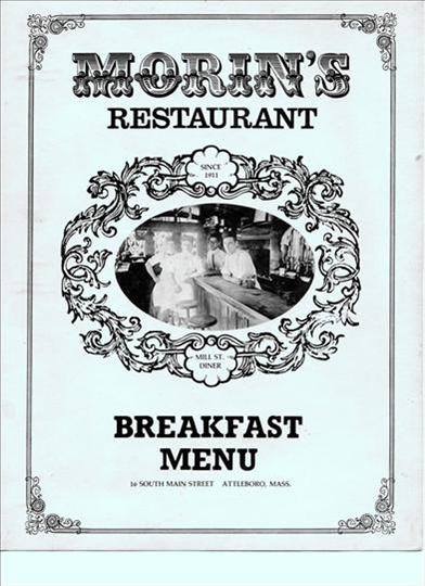 cover of an old breakfast menu, jb is featured in picture on far left, menu is from late 1970's