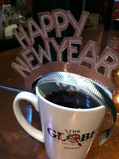 coffee and new years sign