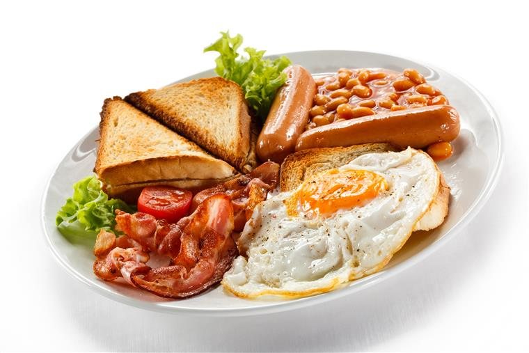 toast with eggs and tomatoes and bacon