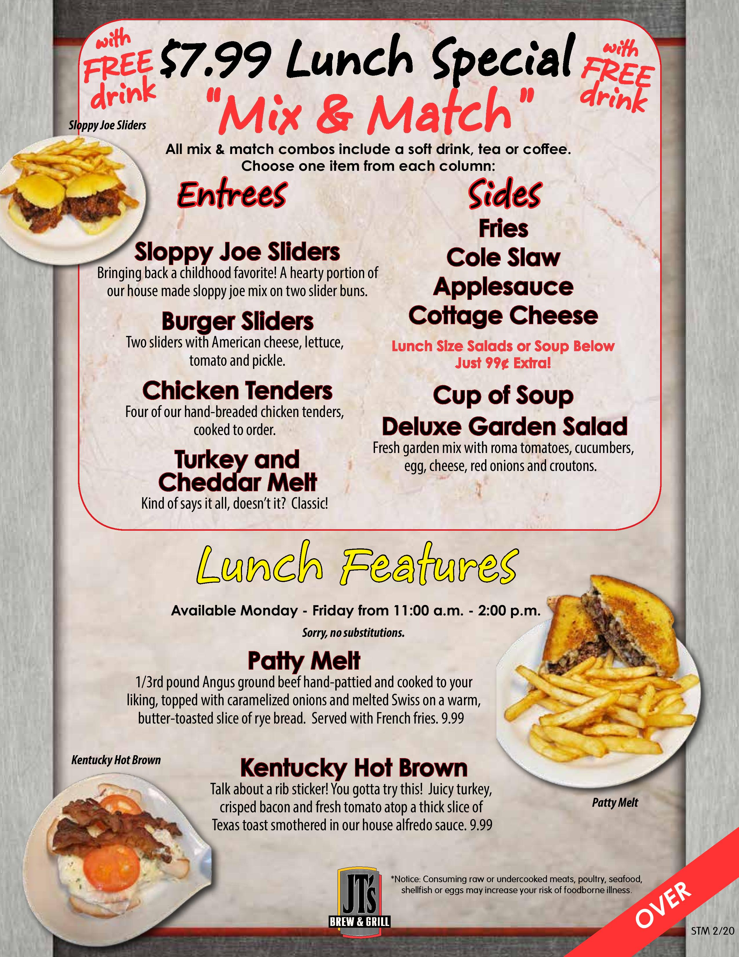 Lunch Features - click for readable PDF