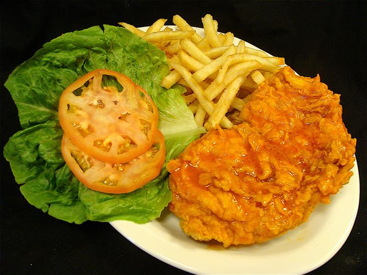 fred chicken sandwich with fries