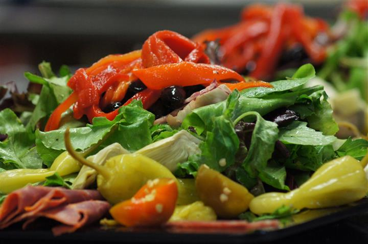 salad with vegetables and dressing