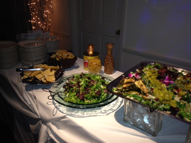 catering display of salad plates