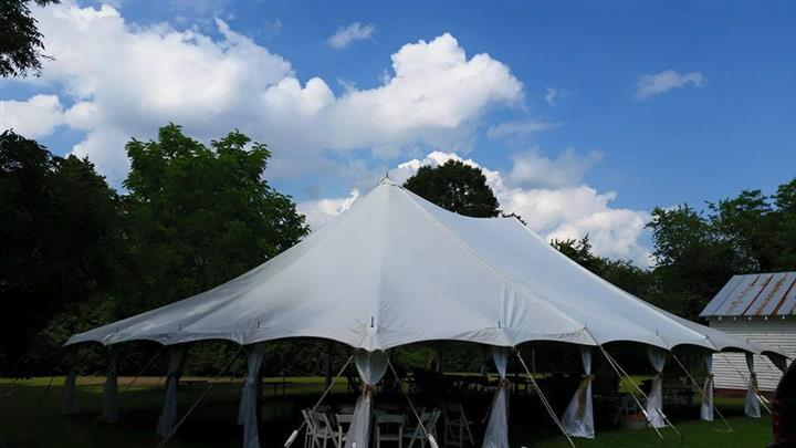 a white tent outside